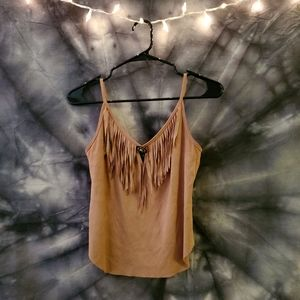 Fringe South-Western Style Suede Tank Top